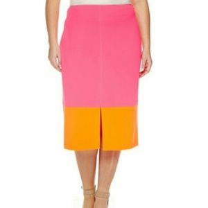 NWT Worthington Color Block Plus Pencil skirt pink